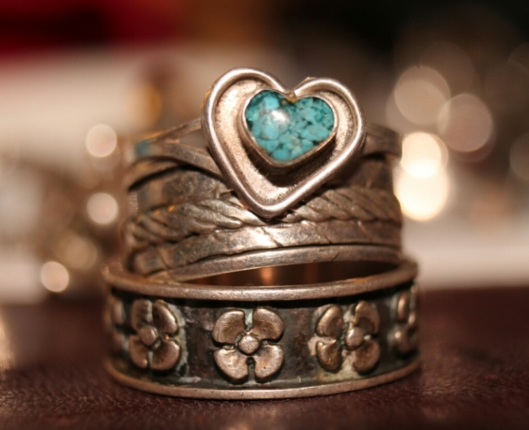 Vintage sterling silver and turquoise rings